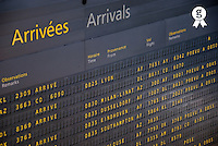 Arrival departure board at airport, close-up (Licence this image exclusively with Getty: http://www.gettyimages.com/detail/73013981 )