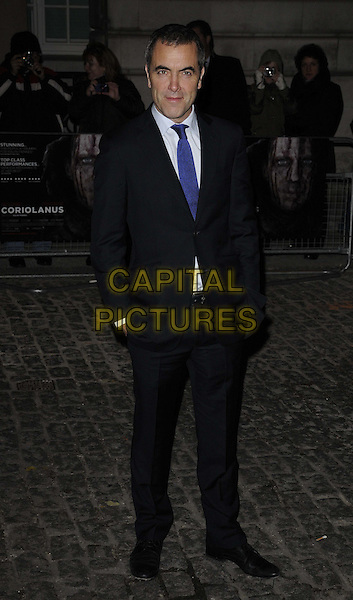 James Nesbitt.The 'Coriolanus' UK film premiere, Curzon Mayfair cinema, Curzon St., London, England..January 5th, 2012.full length black suit hands in pockets white shirt blue tie.CAP/CAN.©Can Nguyen/Capital Pictures.