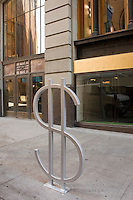 "New York - 21 August 2008 - One of nine bicycle racks designed by David Byrne entitled ""The Wall Street"" on Wall Street in Lower Manhattan."
