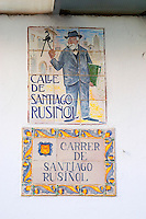 Enamel street sign: Calle Santiago Rusinol. Sitges, Catalonia, Spain