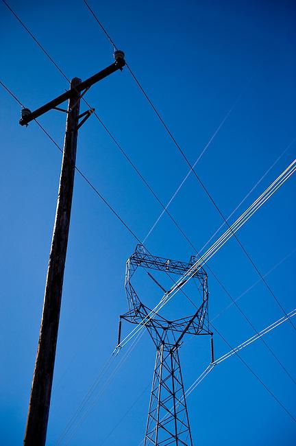 Power lines stretch across farm land near Douglas, WA.