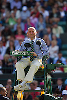 01-07-13, England, London,  AELTC, Wimbledon, Tennis, Wimbledon 2013, Day seven, Chair Umpire on court one<br /> <br /> <br /> <br /> Photo: Henk Koster