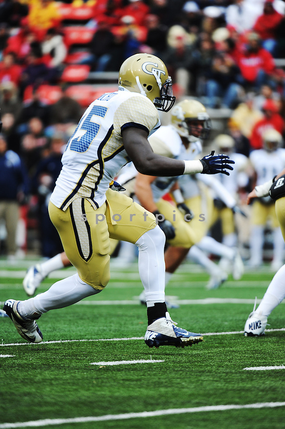 Georgia Tech Yellow Jackets linebacker  Jeremiah Attaochu (45) during game against University of Maryland Terrapins played at Capital One Field At Byrd Stadium on Saturday, November 3, 2012 in College Park, MD. Georgia Tech defeated Maryland 33-13. (Tomasso DeRosa)