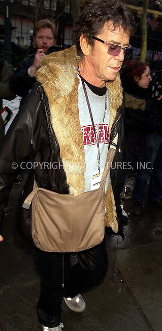 WWW.ACEPIXS.COM . . . . .  ....NEW YORK, FEBRUARY 4, 2005....Lou Reed exits Richard Tyler's show at Olympus Fashion Week in Bryant Park.....Please byline: Ian Wingfield - ACE PICTURES..... *** ***..Ace Pictures, Inc:  ..Philip Vaughan (646) 769-0430..e-mail: info@acepixs.com..web: http://www.acepixs.com