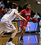 SIOUX FALLS, SD: MARCH 21:  Jada Perkins #1 of Central Missouri drives on Kelsey Williams #13 of Central Missouri during their game at the 2018 Division II Women's Basketball Championship at the Sanford Pentagon in Sioux Falls, S.D. (Photo by Dick Carlson/Inertia)