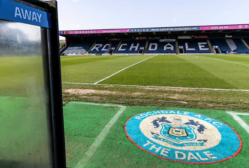 A general view of the Crown Oil Arena <br /> <br /> Photographer Andrew Kearns/CameraSport<br /> <br /> The Carabao Cup First Round - Rochdale v Bolton Wanderers - Tuesday 13th August 2019 - Spotland Stadium - Rochdale<br />  <br /> World Copyright © 2019 CameraSport. All rights reserved. 43 Linden Ave. Countesthorpe. Leicester. England. LE8 5PG - Tel: +44 (0) 116 277 4147 - admin@camerasport.com - www.camerasport.com