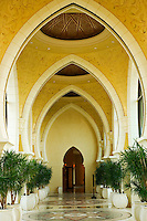 Dubai, United Arab Emirates. Royal Mirage Hotel. Interior,  Arcade, walk way in Moroccan style..