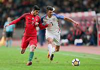 Leiria, Portugal - Tuesday November 14, 2017: Gonçalo Guedes, Eric Lichaj during an International friendly match between the United States (USA) and Portugal (POR) at Estádio Dr. Magalhães Pessoa.