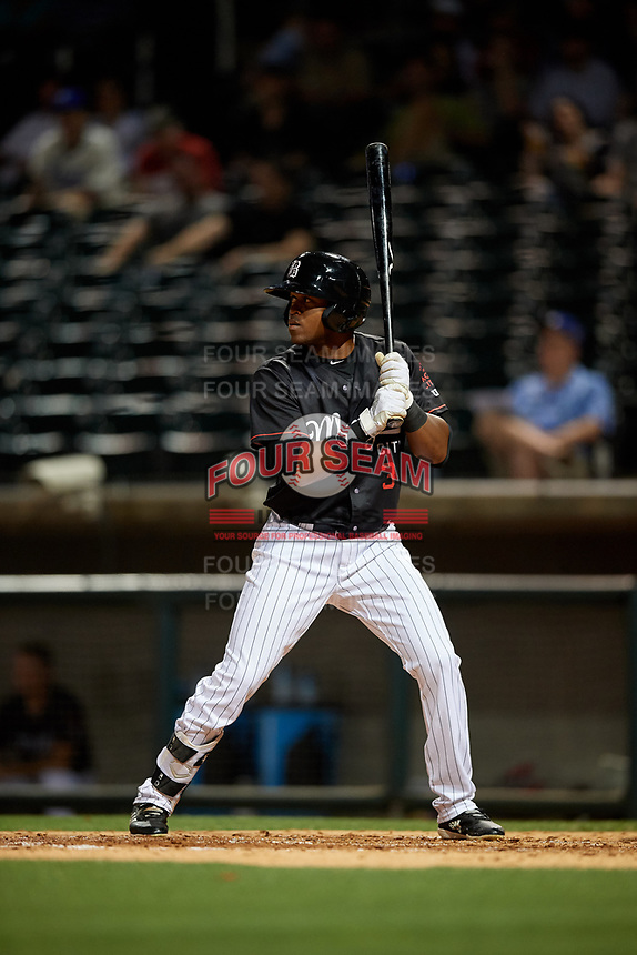 Birmingham Barons Luis Alexander Basabe (3) at bat during a Southern League game against the Chattanooga Lookouts on May 2, 2019 at Regions Field in Birmingham, Alabama.  Birmingham defeated Chattanooga 4-2.  (Mike Janes/Four Seam Images)