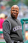10 July 2011: Colorado Rockies first base coach Glenallen Hill stands in the dugout prior to facing the Washington Nationals at Nationals Park in Washington, District of Columbia. The Nationals shut out the visiting Rockies 2-0 salvaging the last game their 3-game series at home prior to the All-Star break. Mandatory Credit: Ed Wolfstein Photo