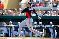 Atlanta Braves first baseman Freddie Freeman #5 during a Spring Training game against the Detroit Tigers at Joker Marchant Stadium on February 27, 2013 in Lakeland, Florida.  Atlanta defeated Detroit 5-3.  (Mike Janes/Four Seam Images)
