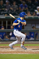 Nathan Lukes (6) of the Durham Bulls follows through on his swing against the Charlotte Knights at BB&T BallPark on July 31, 2019 in Charlotte, North Carolina. The Knights defeated the Bulls 9-6. (Brian Westerholt/Four Seam Images)