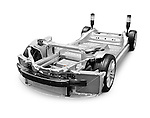 Base frame of 2014 Tesla Model S luxury electric car isolated on white background with clipping path