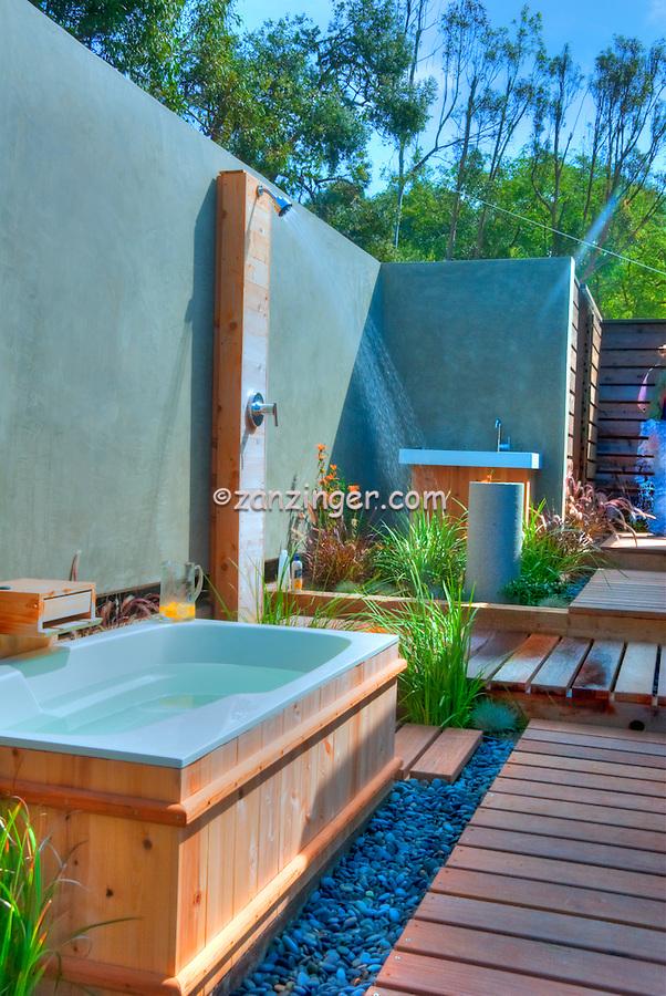 Outdoor, Shower, Bath, Wood Flooring, Bathroom, Open Air, Malibu, California, CA, Landscape, Trees,  Los Angeles California, High dynamic range imaging (HDRI or HDR)