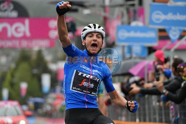 Maglia Azzurra Giulio Ciccone (ITA) Trek-Segafredo wins Stage 16 of the 2019 Giro d'Italia, running 194km from Lovere to Ponte di Legno, Italy. 28th May 2019<br /> Picture: Gian Mattia D'Alberto/LaPresse | Cyclefile<br /> <br /> All photos usage must carry mandatory copyright credit (© Cyclefile | Gian Mattia D'Alberto/LaPresse)