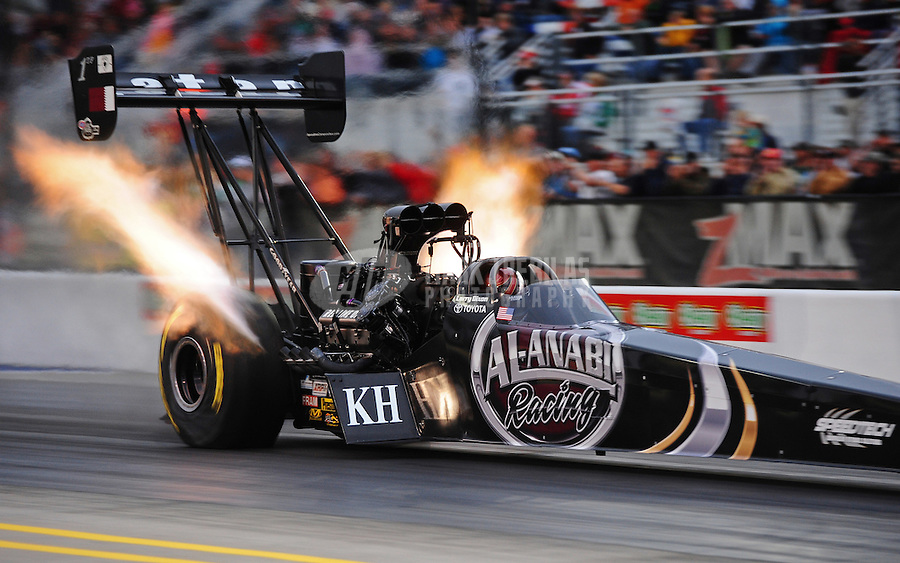 Sept. 16, 2011; Concord, NC, USA: NHRA top fuel dragster driver Larry Dixon during qualifying for the O'Reilly Auto Parts Nationals at zMax Dragway. Mandatory Credit: Mark J. Rebilas-