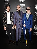 SANTA MONICA, CA - JANUARY 06: (L-R) Musicians Adam Levin, Sam Harris and Casey Harris of X Ambassadors arrive at the The Art Of Elysium's 11th Annual Celebration - Heaven at Barker Hangar on January 6, 2018 in Santa Monica, California.<br /> CAP/ROT/TM<br /> &copy;TM/ROT/Capital Pictures