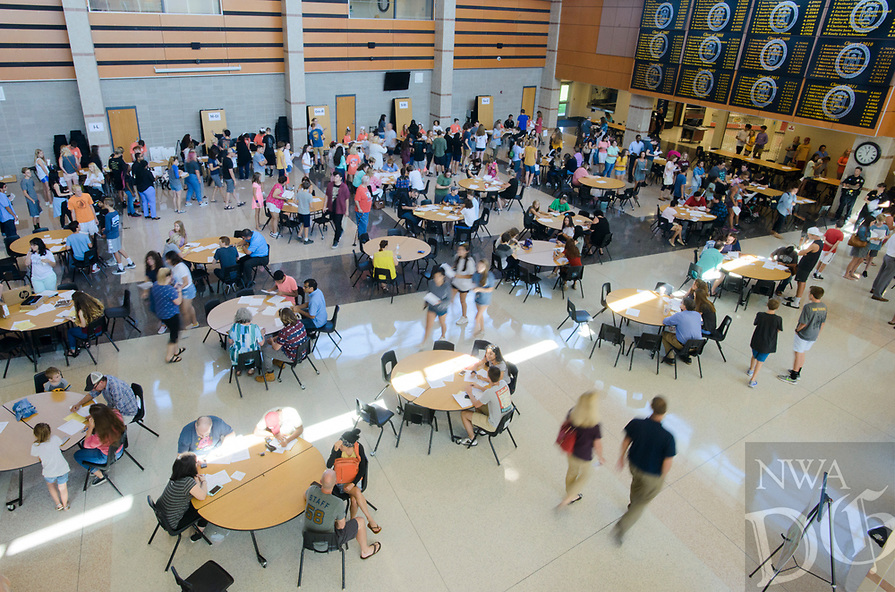 """NWA Democrat-Gazette/CHARLIE KAIJO Students and parents pick up school IDs, fill out paperwork and visit vendors during a school open house, Thursday, August 1, 2018 at Bentonville High School in Bentonville. <br /><br />The Bentonville School District is issuing Chromebooks for students to take home for the first time. They are one-to-one throughout the district but at the high school level, grades 9-12, they can take them home, use them in the community, public library and bring them back to the school to use. <br /><br />More and more, students are using """"tech books"""", meaning e-books. Students can access their tech books online, containing information that would have been in text books in the past. <br /><br />""""ItÕs a life skill at this point to be able to learn in a blended environment where some of the curriculum research and books are online and some may be face to face in person,"""" said Jennifer Morrow, executive director of secondary schools."""" ItÕs a tool to help us do our work in a more paper free environment.""""<br /><br />The district is distributing 5,000 Chromebooks. Of those who have up theirs, 1,208 have been distributed to Bentonville West High School. They expect about 2,000 in total there to be distributed. Bentonville High School expected to distribute about 3,000 on Thursday."""