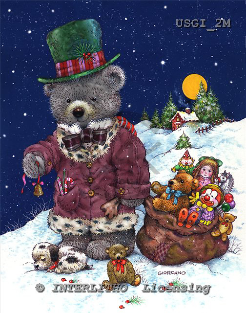 GIORDANO, CHRISTMAS ANIMALS, WEIHNACHTEN TIERE, NAVIDAD ANIMALES, Teddies, paintings+++++,USGI2M,#XA#