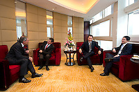 L-R: GDF Suez CEO and Paris Europlace Chairman Gerard Mestrallet, French Financial Markets Authority Chairman Jean-Pierre Jouyet, China Securities Regulatory Commission Vice-Chairman Yao Gang, and Shanghai Municipal Government Financial Services Director-General Fang Xinghai, before Shanghai / Paris Europlace Financial Forum, in Shanghai, China, on December 1, 2010. Photo by Lucas Schifres/Pictobank