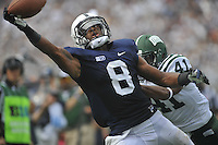 01 September 2012:  Penn State WR Allen Robinson (8) almost makes a one-handed catch in the end zone for a touchdown during the 3rd quarter, but can't pull it in while defended by Ohio CB Ian Wells (41).  The Ohio Bobcats defeated the Penn State Nittany Lions 24-14 at Beaver Stadium in State College, PA..