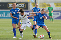20180305 - LARNACA , CYPRUS : Italian Ilaria Mauro (middle) pictured in a duel with Finnish Nora Heroum (right) and Finnish Anna Westerlund (left) during a women's soccer game between Finland and Italy , on monday 5 March 2018 at the AEK Arena in Larnaca , Cyprus . This is the third game in group A for Finland and Italy during the Cyprus Womens Cup , a prestigious women soccer tournament as a preparation on the World Cup 2019 qualification duels. PHOTO SPORTPIX.BE | DAVID CATRY