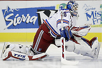 16 January 2006: New York Rangers' Henrik Lundqvist plays against the Columbus Blue Jackets at Nationwide Arena in Columbus, Ohio.<br />