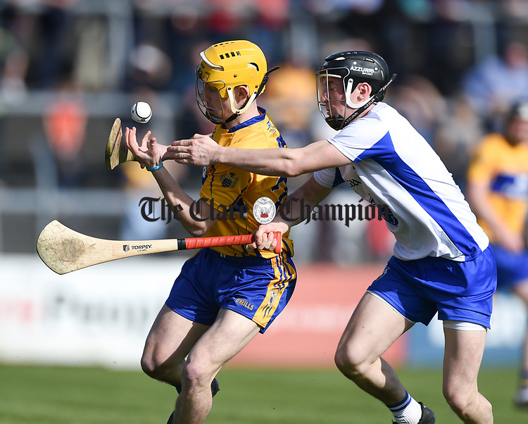 Colm Galvin of Clare  in action against Conor Gleeson of Waterford  during their National League game at Cusack Park. Photograph by John Kelly.