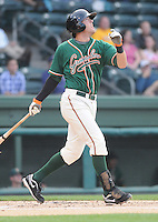Infielder Brian McConkey (35) of the Greensboro Grasshoppers, Class A affiliate of the Florida Marlins, in a game against the Greenville Drive on April 26, 2011, at Fluor Field at the West End in Greenville, South Carolina. (Tom Priddy/Four Seam Images)