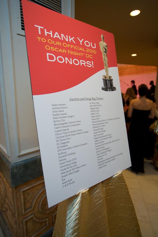 Slug: Red Cross/Oscar.Date: 03-08-2010 .Photographer: Mark Finkenstaedt.Location:Museum for Women in the Arts. New York Avenue Nw, Washington DC.Caption:  The Red Cross 2010 Oscar Party at the Museum for Women in the Arts...