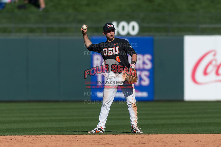 Oregon State Beavers shortstop Beau Philip (4) during a game against the Gonzaga Bulldogs on February 16, 2019 at Surprise Stadium in Surprise, Arizona. Oregon State defeated Gonzaga 9-3. (Zachary Lucy/Four Seam Images)