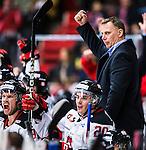 S&ouml;dert&auml;lje 2014-01-06 Ishockey Hockeyallsvenskan S&ouml;dert&auml;lje SK - Malm&ouml; Redhawks :  <br />  Malm&ouml; Redhawks tr&auml;nare headcoach Mats Lusth lyfter armen i luften i m&aring;lgest efter att Malm&ouml; Redhawks Daniel Viksten gjort 1-0<br /> (Foto: Kenta J&ouml;nsson) Nyckelord:  jubel gl&auml;dje lycka glad happy