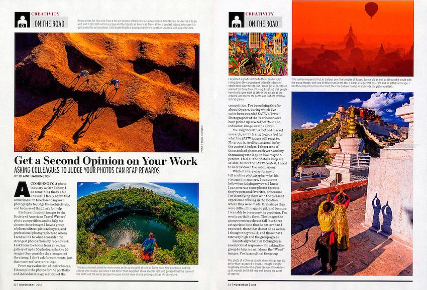 "Shutterbug Magazine travel photography column ""On the Road"" by photographer Blaine Harrington III, November 2014 issue."