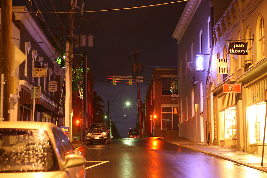 Downtown mall at night in Charlottesville, VA.