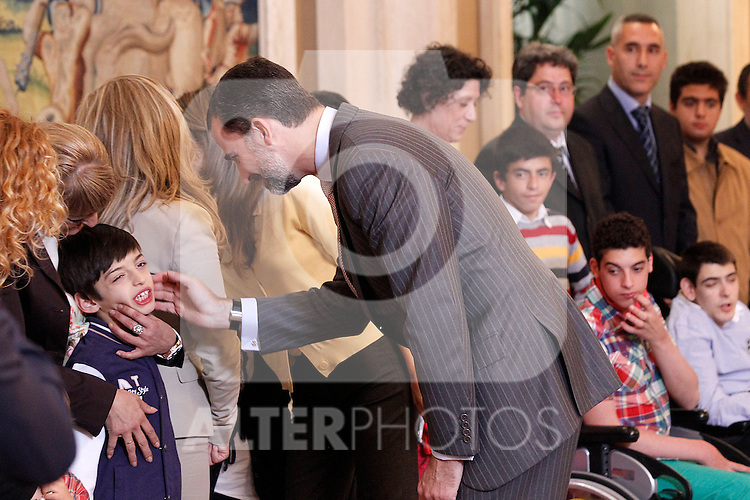 """Princes Felipe and Letizia of Spain attend in audience a representation of the Public School for Special Education """"Pilar Soubrier"""".May 22 ,2012. (ALTERPHOTOS/Acero)"""