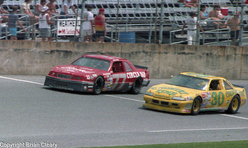 Michael Waltrip Ken Ragan  action Pepsi Firecracker 400 at Daytona International Speedway in Daytona Beach, FL in July 1988. (Photo by Brian Cleary/www.bcpix.com)