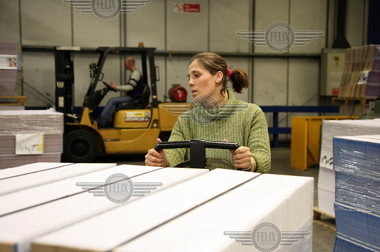 Susan Lourenco, a migrant worker from Portugal, working at the St Ives printing plant in Roche, Cornwall.