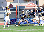 Tustin, CA 04/23/16 - Ryan Winn {La Costa Canyon #12), Pierce Maczko {La Costa Canyon #28) and Kevin Kodzis (Foothill #34) in action during the non-conference CIF varsity lacrosse game between La Costa Canyon and Foothill at Tustin Union High School.  Foothill defeated La Costa Canyon 10-9 in sudden death overtime.