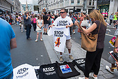 Stop Trump T-shirt seller.  Dump Trump march through central London to protest at the UK visit of USA President Donald Trump.
