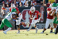STANFORD, CA - SEPTEMBER 21: Cameron Scarlett #22 of the Stanford Cardinal runs with the ball during a game between University of Oregon and Stanford Football at Stanford Stadium on September 21, 2019 in Stanford, California.
