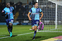 Luke O'Nien of Wycombe Wanderers (17) celebrates after he scores his team's second goal of the game against Morcambe to make it 2-0 during the Sky Bet League 2 match between Wycombe Wanderers and Morecambe at Adams Park, High Wycombe, England on 12 November 2016. Photo by David Horn.