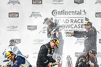 IMSA Continental Tire SportsCar Challenge<br /> Road America 120<br /> Road America, Elkhart Lake, WI USA<br /> Saturday 5 August 2017<br /> 27, Mazda, Mazda MX-5, ST, Britt Casey Jr, Tom Long, 25, Mazda, Mazda MX-5, ST, Chad McCumbee, Stevan McAleer, 56, Porsche, Porsche Cayman, ST, Jeff Mosing, Eric Foss, podium, champagne<br /> World Copyright: Michael L. Levitt<br /> LAT Images