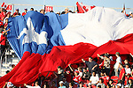 Chile fans unfurl a giant flag on Sunday, July 1st, 2007 at the National Soccer Stadium, also known as BMO Field, in Toronto, Ontario, Canada. Chile's Under-20 Men's National Team defeated Canada's Under-20 Men's National Team 3-0 in a Group A opening round match during the FIFA U-20 World Cup Canada 2007 tournament.