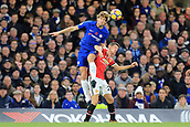 5th November 2017, Stamford Bridge, London, England; EPL Premier League football, Chelsea versus Manchester United; Marcos Alonso of Chelsea battles to win a header against Ander Herrera of Manchester Utd