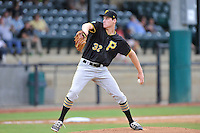 Starting pitcher Ike Schlabach (32) of the Bristol Pirates in a game against the Pulaski Yankees on Tuesday, July 5, 2016, at Calfee Park in Pulaski, Virginia. Pulaski won, 6-3. (Tom Priddy/Four Seam Images)