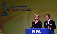 SKY TV Presenters Hayley Holt and Stephen McIvor. Official Draw for the FIFA U 20 Football World Cup, New Zealand 2015. Sky City, Auckland. Tuesday 10 February 2015. Copyright photo: Andrew Cornaga / www.photosport.co.nz
