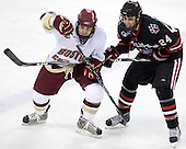 Barry Almeida (BC - 9), Drew Daniels (NU - 24) - The Boston College Eagles defeated the Northeastern University Huskies 5-1 on Saturday, November 7, 2009, at Conte Forum in Chestnut Hill, Massachusetts.