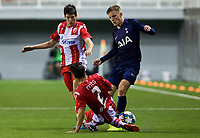 6th November 2019; Vozdovac Stadium, Belgrade, Serbia; UEFA Under 19 UEFA Youth league football, FK Crvena Zvezda under 19s versus Tottenham Hotspur under 19s; Stefan Mitrovic of FK Crvena Zvezda tackles Harvey White of Tottenham Hotspurs FC