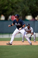 Atlanta Braves Austin Bush (59) leads off second base during an Instructional League game against the Detroit Tigers on October 10, 2017 at the ESPN Wide World of Sports Complex in Orlando, Florida.  (Mike Janes/Four Seam Images)