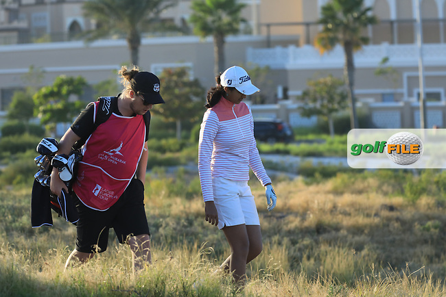 Aditi Ashok (IND) during the second round of the Fatima Bint Mubarak Ladies Open played at Saadiyat Beach Golf Club, Abu Dhabi, UAE. 11/01/2019<br /> Picture: Golffile | Phil Inglis<br /> <br /> All photo usage must carry mandatory copyright credit (&copy; Golffile | Phil Inglis)